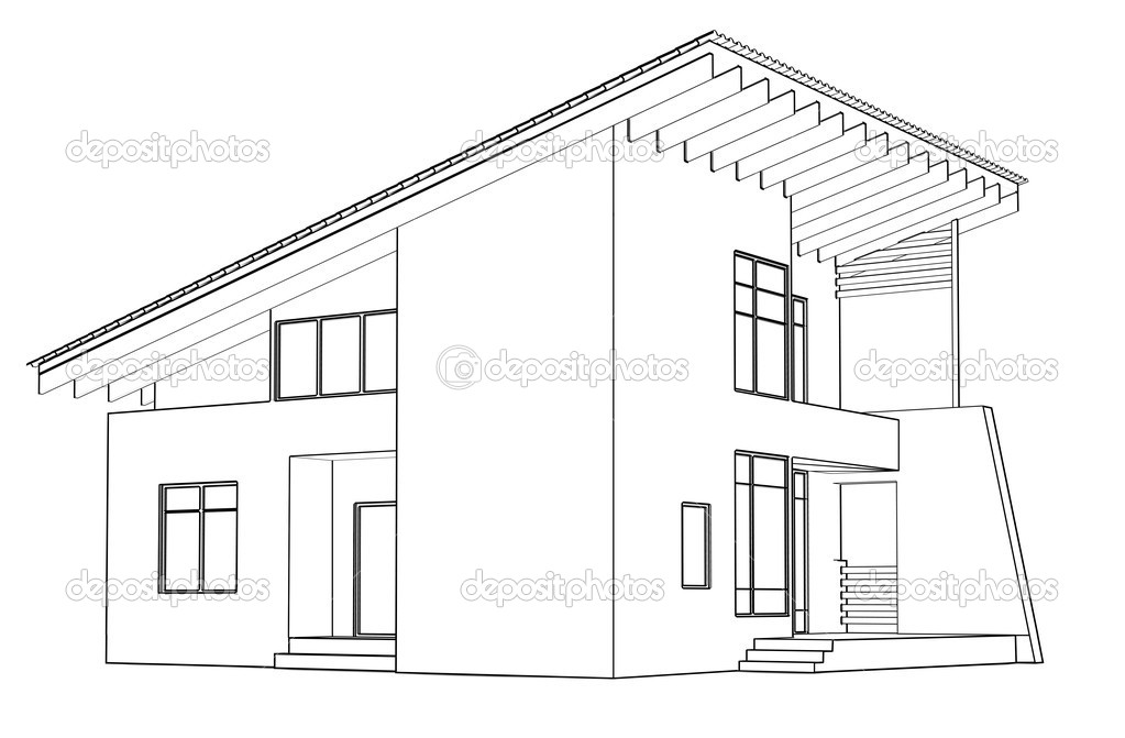 Архитектурный чертеж дома в перспективе.