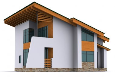 House rendering on white background