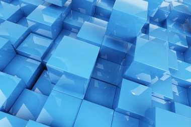 Abstraction blue cubes