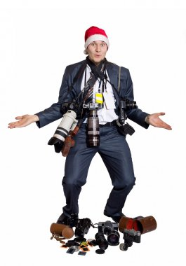 Photographer with camera isolated on white