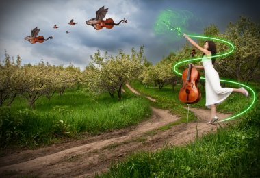 Woman with cello and dragon violins