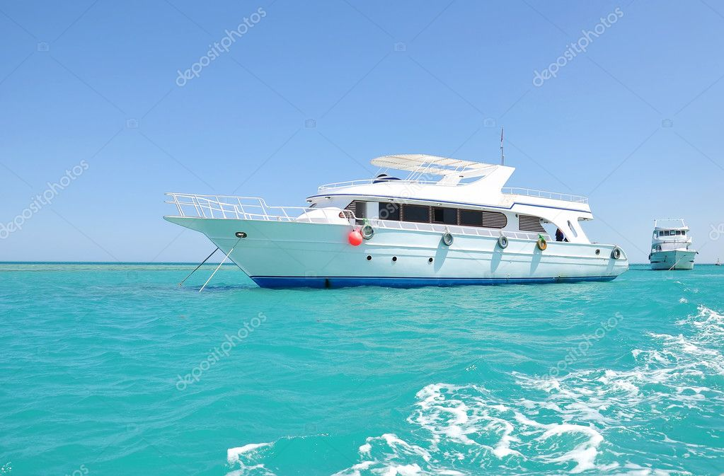 White yacht in sea