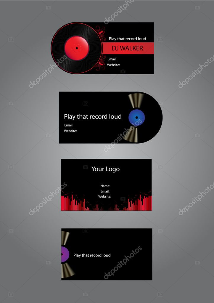DjMusic Business Cards Stock Vector Hotpindesigns - Music business card template
