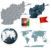 Set of afganistan maps, red flag pin and flag icon. Source: http://www.lib.utexas.edu/maps/middle_east_and_asia/txu-oclc-309296021-afghanistan_admin_2008.jpg ht
