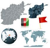 Set of Afganistan vector maps