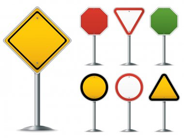 Blank traffic sign set. Easy to edit vector image. stock vector