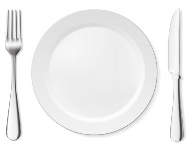 Dinner plate, knife and fork. Vector objects collection.