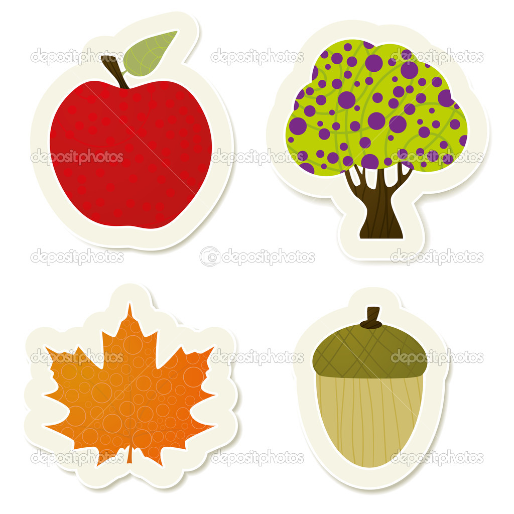 Autumn vector stickers set