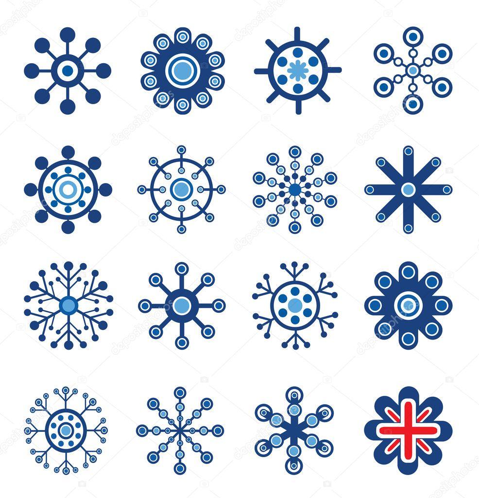 Retro Style Snowflakes Set