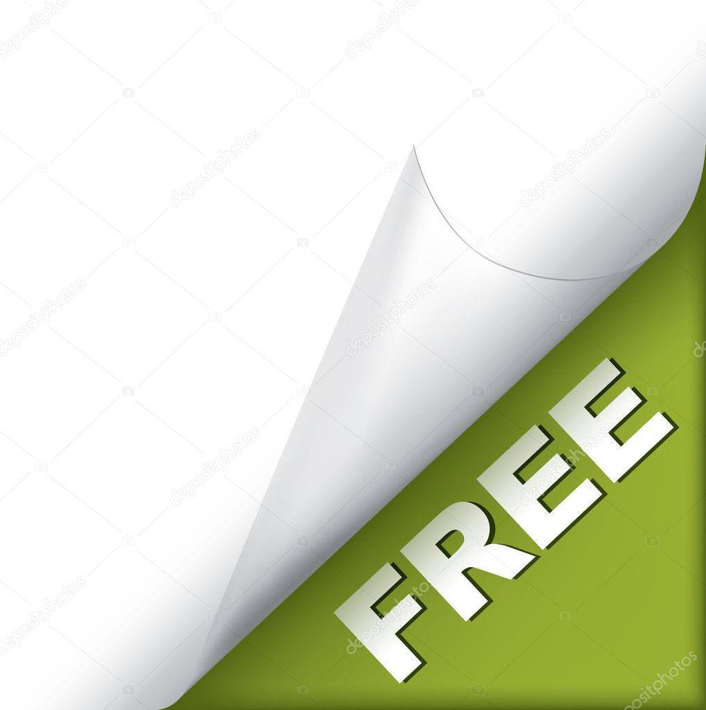 White page curled corner with free sign on green clipart vector