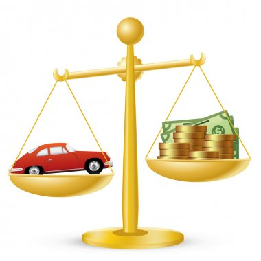 Car and money on scales. Car prices concept. clip art vector