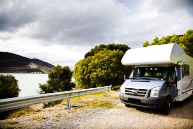 Motor Home Against Nature Background