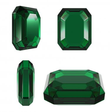 Emerald classic cut different view isolated