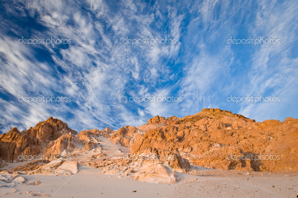 Beautiful desert landscape with stone formation and breathtaking