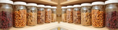 Healthy Nuts in Glass Jars