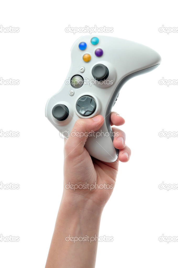 Hand holding video game controller