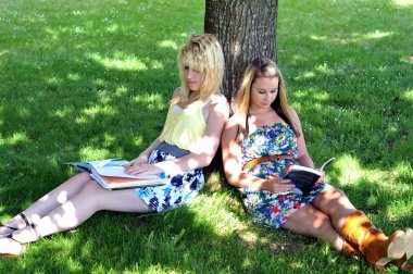 Girls reading books under tree in shade