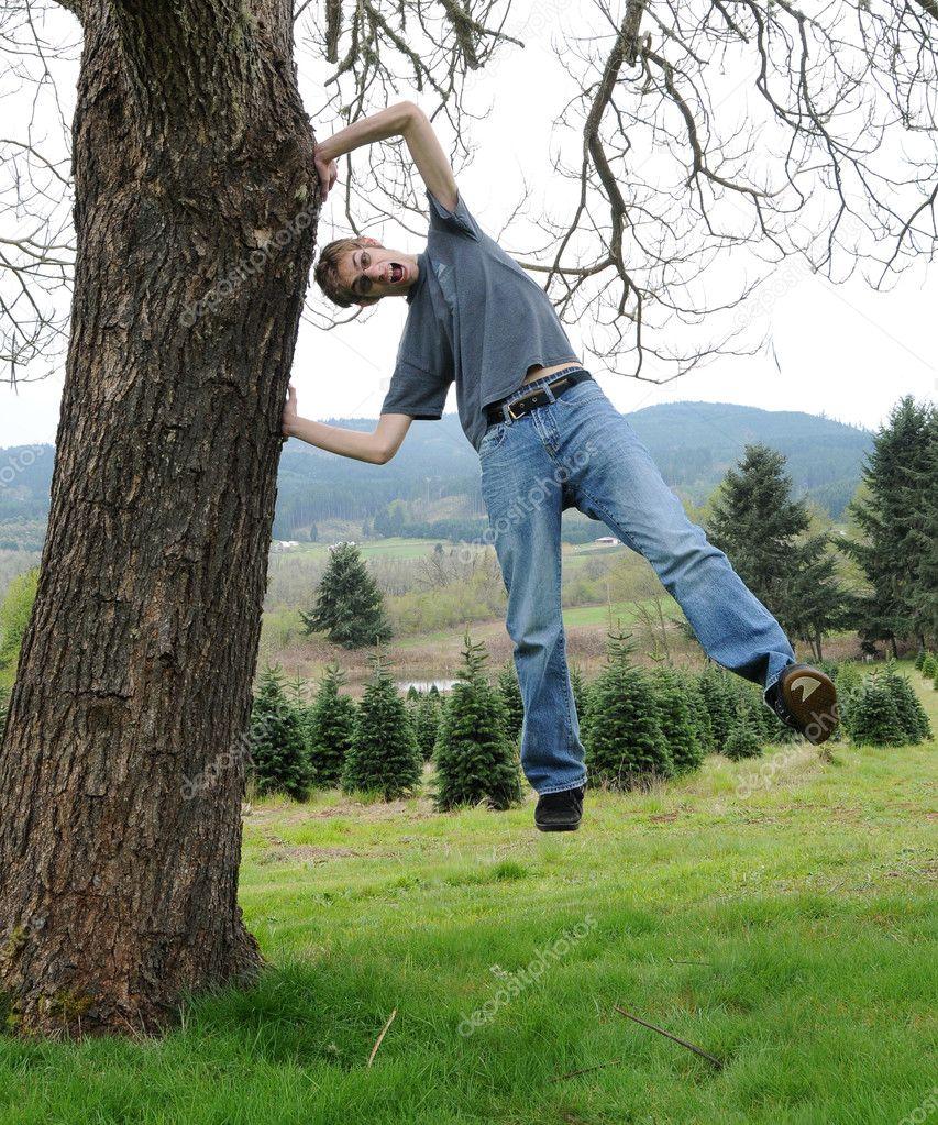 Young man doing crazy tricks