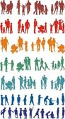 Fotografie Family colourful silhouetted (vectors)