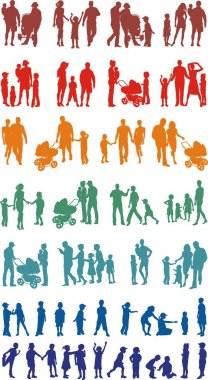 Family colourful silhouetted (vectors)