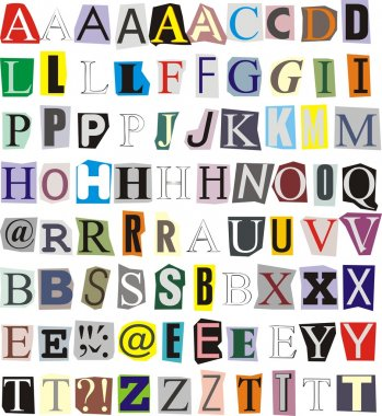 Illustration of individual letters cut out of newspapers and magazines stock vector