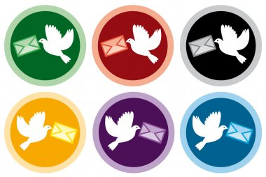 Icons of doves with letters