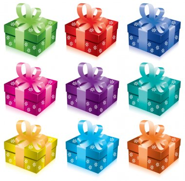 Vector set of gift boxes with bow and ribbon clip art vector