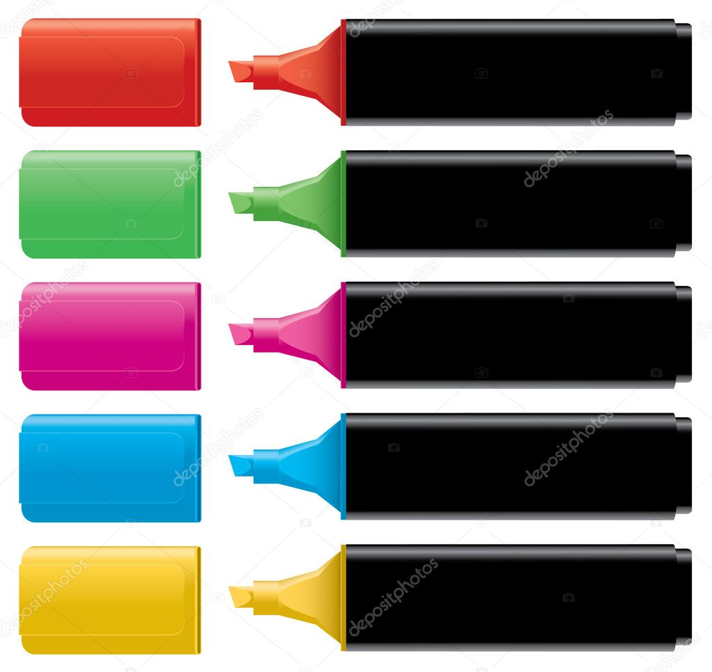 Colorful Highlighters With Caps Stock Vector C Dahliamm