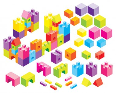 Buckets and isometric figures to construct diverse forms