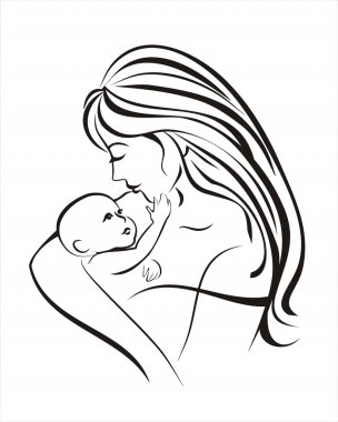 Mother and child, vector sketch in black lines