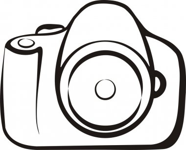 Photo camera symbol in outlines