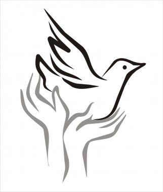 Pigeon of peace flying from the open hands sketch in black lines clip art vector