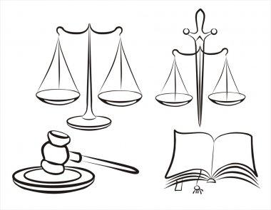 Justice concept set of symbols