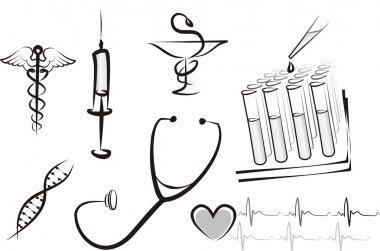 Set of medicine isolated symbols, sketch in black lines clip art vector
