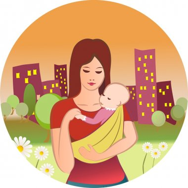 Young woman with the child in sling, on the evening city background stock vector