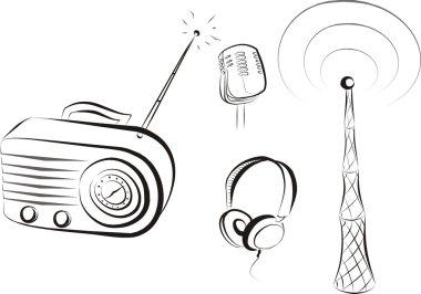 Retro radio set sketch in black lines