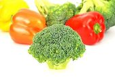 Isolated broccoli and colorful pepper