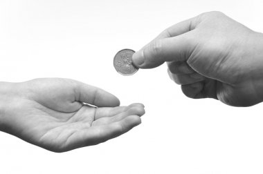 Giving and receiving hand gesture