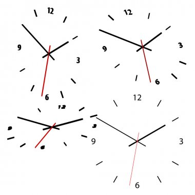 Set of 4 clocks. Available in jpeg and eps8 formats. clip art vector
