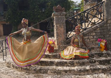 Beautiful black woman on the caribbean festival