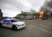 požár v budově saskatchewan policejní auto