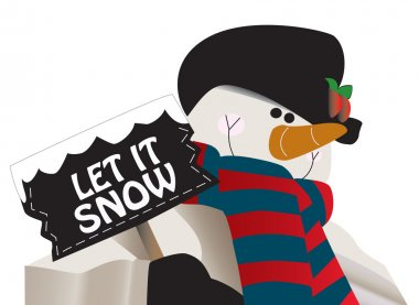 Let it snow! Snowman holding a sign.