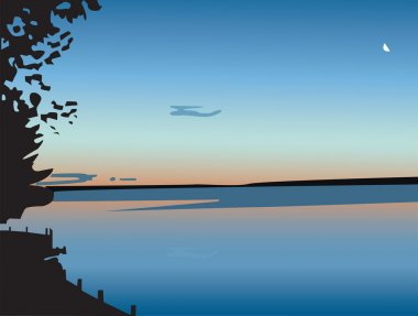 Sunset over a lake, in vector