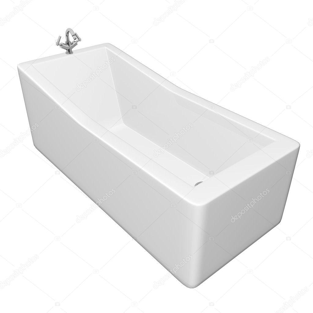 Vasca da bagno rettangolare bianco con infissi in acciaio - Vasca da bagno acciaio prezzi ...