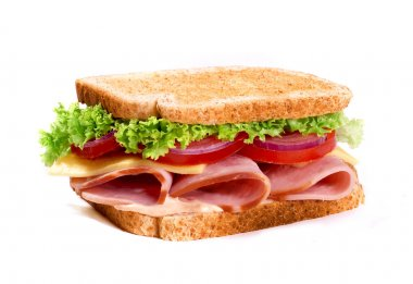 Healthy ham sandwich with cheese and tomatow