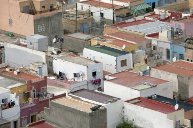 Aerial view over roofs in small spanish city
