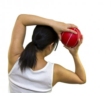 Lady doing back stretch exercises
