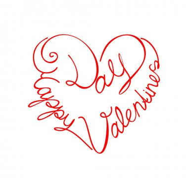 Calligraphic text happy valentine's day from the heart shape clip art vector