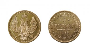 Two side of ancient gold coin isolated on white