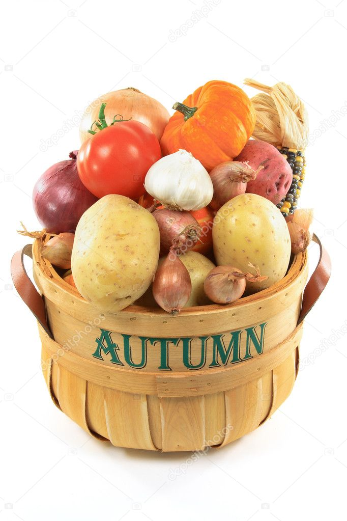 Autumn vegetables in basket.